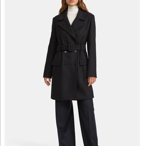 NWT Theory Long Peacoat in Stretch Wool Melton